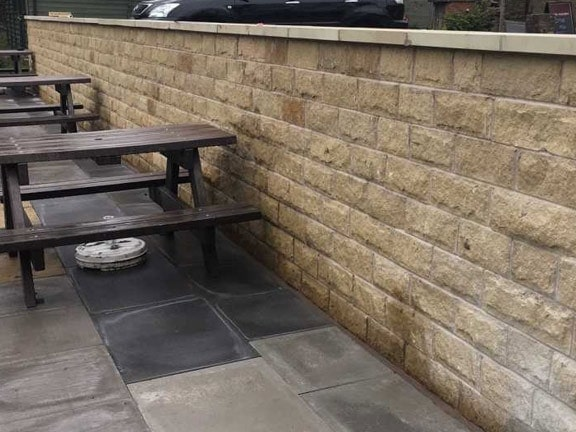 Public house and bowling green – wall re-build